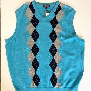 Roundtree & Yorke Blue Argyle Sweater Vest